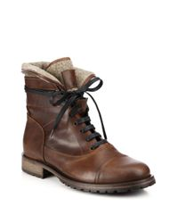 Belstaff | Brown Faystar Wool-detail Leather Boots for Men | Lyst