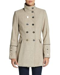 Calvin Klein - Natural Double-Breasted Melton Wool Coat - Lyst
