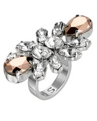 Mews London | Metallic Rose Knuckle Crystal Ring | Lyst