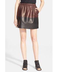 Vince - Black Colorblock Leather Skirt - Lyst