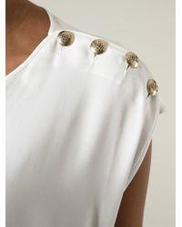 Emilio Pucci - White Button Detail Sleeveless Blouse - Lyst