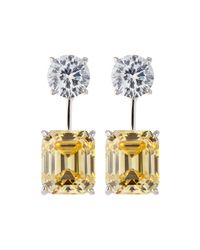 Fantasia by Deserio - Metallic 18k Gold-plated Two-tone Cz Drop Earrings - Lyst