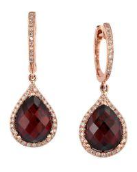 Effy | Metallic 14kt Rose Gold Garnet Diamond Drop Earrings | Lyst