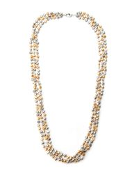 Gardenia | Metallic Gold-Tone & Champagne Freshwater Pearl Necklace | Lyst
