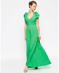 ASOS | Green Flutter Maxi With Cut Out Back Dress | Lyst