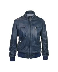 FORZIERI | Blue Soft Calf Leather Motorcycle Jacket for Men | Lyst