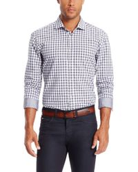 BOSS - Gray 'ridley' | Slim Fit, Cotton Vichy Button Down Shirt for Men - Lyst