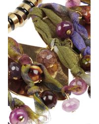 Etro - Purple + V&A Hammered Gold-Plated, Tourmaline And Silk Necklace - Lyst
