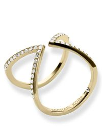 Michael Kors | Metallic Pavé Open Arrow Ring | Lyst