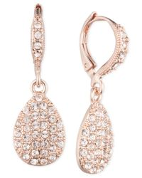 Givenchy - Pink Rose Gold-tone Pavé Pear Drop Earrings - Lyst