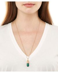 True Rocks - Small Green And Rose Gold Plated Pill Necklace - Lyst