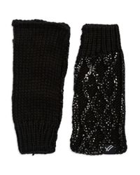 William Rast | Black Cable-knit Fingerless Gloves | Lyst