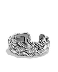 David Yurman - Metallic Woven Cable Wide Cuff With Diamonds - Lyst