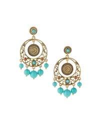 R.j. Graziano - Blue Beaded Drop Hoop Earrings - Lyst