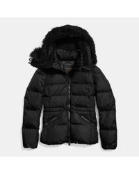 COACH - Black Short Down Jacket - Lyst