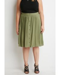 Forever 21 - Green Plus Size Buttoned A-line Skirt - Lyst