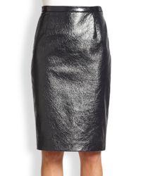 Tamara Mellon - Blue Coated Leather Pencil Skirt - Lyst