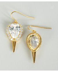Noir Jewelry - Metallic Gold and Crystal Teardrop Spike Earrings - Lyst