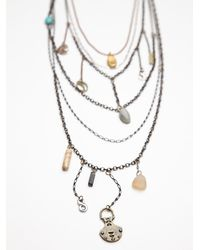 Free People | Gray Multi Charm Rosary | Lyst