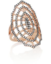 Diane Kordas | Metallic Spider Web 18karat Rose Gold Rhodiumplated Diamond Ring | Lyst