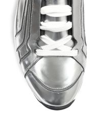 Pierre Hardy - Metallic Patent Leather Laceup Sneakers for Men - Lyst