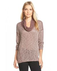 Gibson - Brown Semi Sheer Cowl Neck Top - Lyst