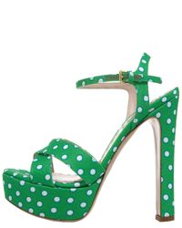 Miu Miu | Green Polka-Dot Satin-Twill Sandals | Lyst