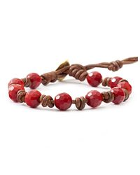 Chan Luu - Red Coral Beaded And Leather Bracelet - Lyst