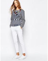 Sportmax Code - Blue Embellished Striped Sweat Top - Lyst