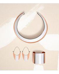 Tory Burch - White Stripe Wide Metal Cuff - Lyst