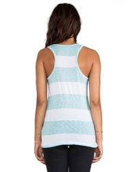 C&C California | Stripe Scoop Neck Tank in Blue | Lyst