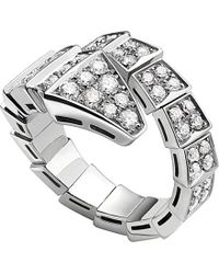 BVLGARI | Metallic Serpenti 18ct White-gold and Diamond Ring | Lyst