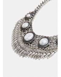 Violeta by Mango - Metallic Stone Chain Necklace - Lyst