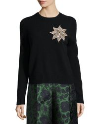 Alexander McQueen - Black Brooch-embellished Knit Sweater - Lyst