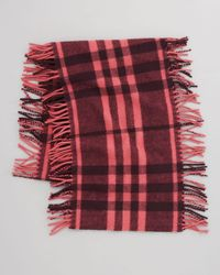 Burberry - Pink Happy Check Fringe Scarf - Lyst