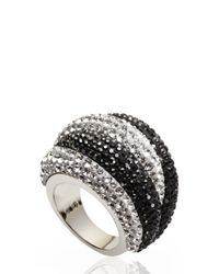 Swarovski | Silver-Tone & Black Accented Ring Size 7 | Lyst