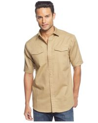 Sean John | Natural Big & Tall Short Sleeve Solid Linen Shirt for Men | Lyst