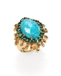 Phillips House | Metallic Lenox Amazonite, Tsavorite & 14k Yellow Gold Fringe Ring | Lyst