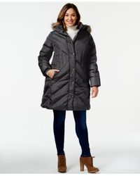London Fog | Black Plus Size Faux-fur-trim Quilted Puffer Coat | Lyst