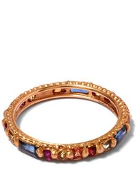 Polly Wales - Metallic Rose Gold Rapunzel Harlequin Sapphire Ring - Lyst