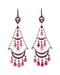 Mimi So - Red Spinel Ruby Chandelier Earrings - Lyst