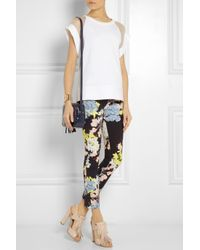 Erdem - Black Melinda Cropped Printed Stretchtwill Pants - Lyst