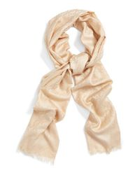 Tory Burch - Natural Logo Jacquard Silk & Cotton Scarf - Lyst