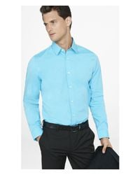Express | Blue Fitted Textured 1mx Shirt for Men | Lyst