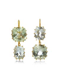 Renee Lewis | Green 18K Yellow Gold Aquamarine Earrings | Lyst