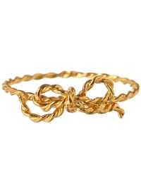Alex Monroe | Metallic Gold-Plated Little String Bow Ring | Lyst