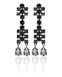 Lanvin - Black Crystal Drop Earrings - Lyst