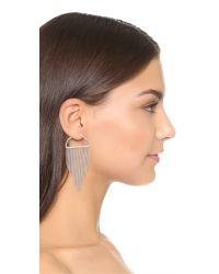 Noir Jewelry - Metallic Fringe Half Hoop Earrings - Lyst