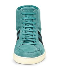 Gucci - Blue Suede Hightop Sneaker for Men - Lyst