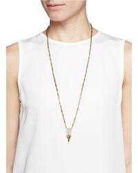Iosselliani | Metallic Zircon Pavé Brass Arrow Pendant Necklace | Lyst